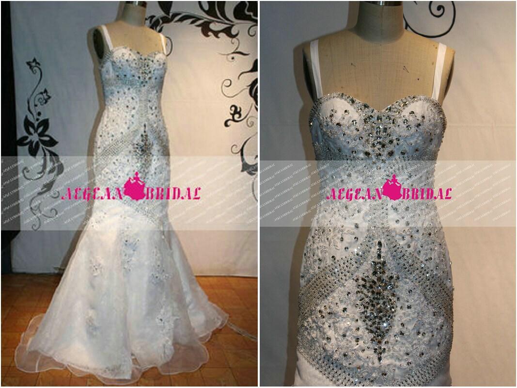 RW189 Beaded Wedding Dress with Veil Rhinestone Sequins Wedding dress Mermaid Bridal Dress Long Beaded Bridal Gown Lace Wedding Gown