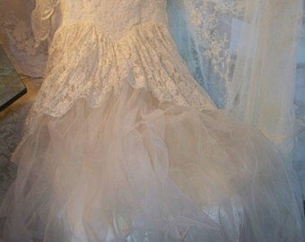Antique Vintage Ethereal Princess Style Tulle Dress circa 1940's