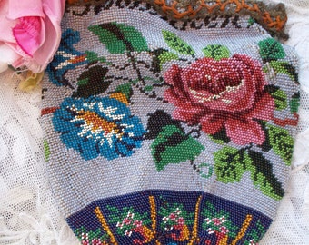 Antique Gatsby Era French Floral Beaded Purse with French Signature Beading in the Top RARE!1910