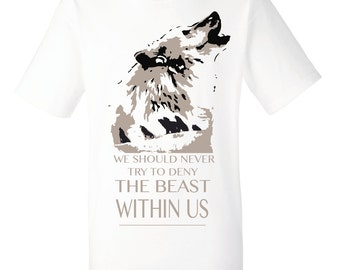 Wolf shirt, wolves tshirt, howling wolf inspirational quote tees for men. Spirit animal manly gift for guys. Wolf original art tee with text