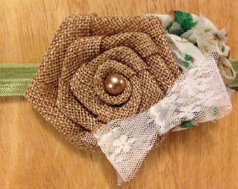 Burlap Rosette Girls Headband