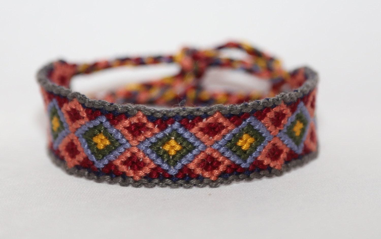 friendship bracelet handmade multicolored diamond pattern. Black Bedroom Furniture Sets. Home Design Ideas