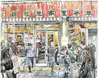 Chinatown Doyers Street Dim Sum Gouache Painting | Archival Print
