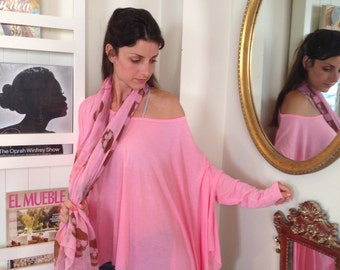 Loose Shirt / Gorgeous Pink Women Shirt  / Long sleeve Blouse / Yoga