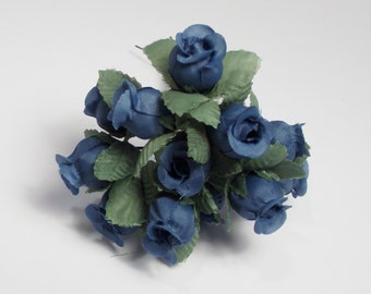 Flower Blue Rose Small Artificial Flowers 1 set of 12  leaves silk flowers supplies bendable wire home decor wedding crafts accessories