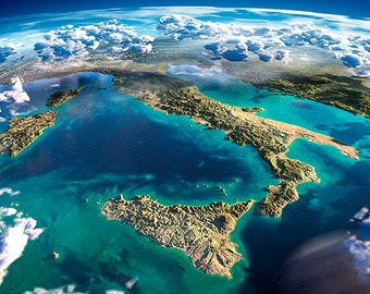 Earth - Italy - planet earth, satellite view - SKU 0096