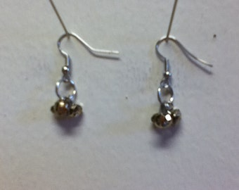 Gold Crystals Earrings ....... Mixed Metals