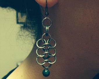 Handmade Beaded Chainmaille Earrings