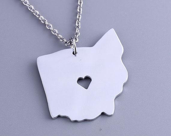 i ohio necklace ohio pendant state charm map