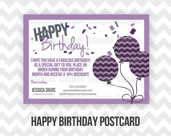 Thirty one happy birthday postcard printable direct sales mlm like this item colourmoves Gallery