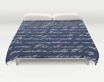 navy blue handwriting poem duvet cover navy blue and white bedding typography duvet cover navy