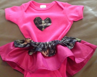 Custom made to order hot pink camoflauge infant girl's custom made outfit with matching headband.
