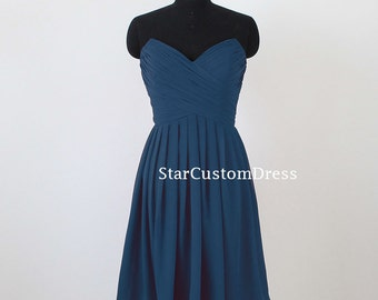 Short Navy Chiffon dress Strapless Bridesmaid dress Simple Prom dresses