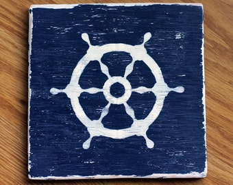 Ship's Helm - Nautical Hand Painted Wooden Sign