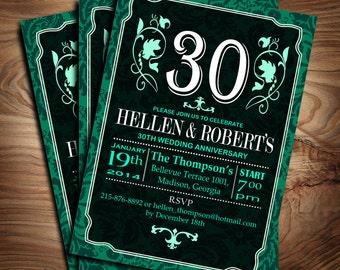 30th Wedding Anniversary / Emerald Green / Digital Printable Invitation / Customized