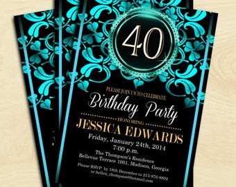 40th Adult Birthday Invitation / 30th / 50th / 60th / 70th / 80th / 90th / Any Age /Aqua Blue / Digital Printable Invitation / Customized