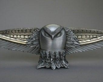 Pewter and bronze sculpture, Owl sculpture, letter-opener, fonctional art, original gift idea, owl collectors, owl decor office