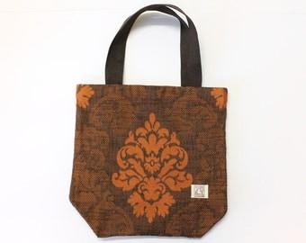 Brown and pumpkin orange small tote bag