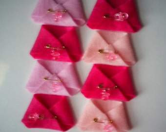 26 Mini Felt Diapers In Three Shades of Pink (Set 1 or Set 2) or Blue With Pacifiers - Baby Shower Favors