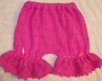 Hand Knitted & Decorated Pink Cotton Baby Bloomers.