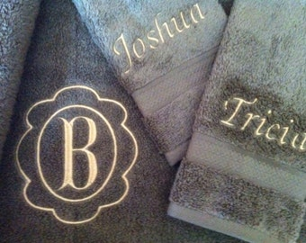 Monogrammed towel set. Bath towel, hand towel and washcloth.
