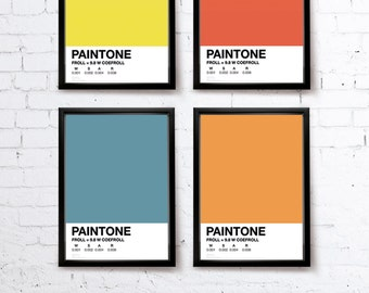 PAINTONE v1. Pantone tribute Bike print/Bike poster • blue/green/pink/yellow/orange/grey/red • modern • cool  • typographic • bold • graphic