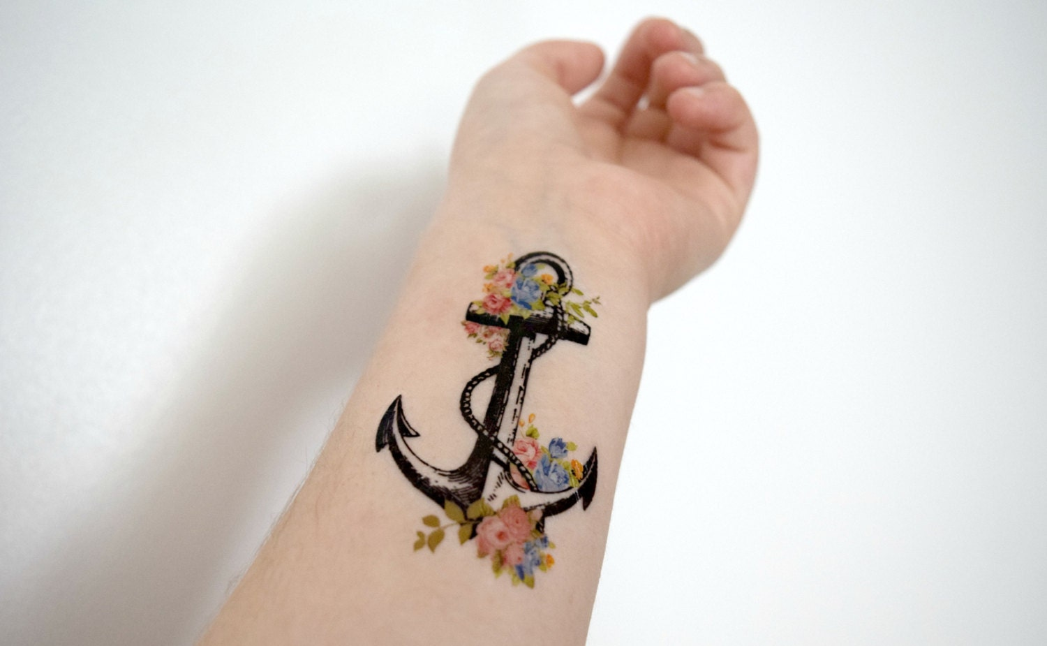 Floral Anchor Tattoos Floral Anchor Temporary Tattoo