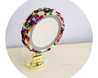 Gem Jewel Magnified Gold Wall/Table Mirror