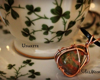 Unakite Wire Wrapped Necklace