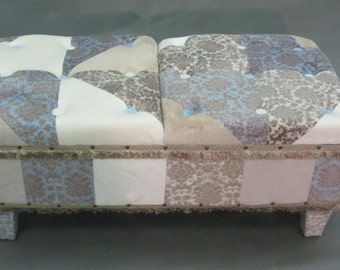 Luxurious Bench Upholstered in Plush Minky Burnout Damask Fabric In Blue & Beige with Covered Buttons and Legs, Designer Trim.