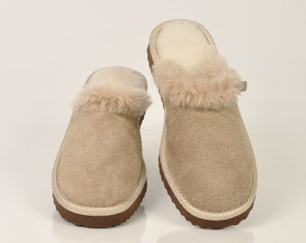 Women's slippers. Fur slippers. Sheepskin slippers. Wool slippers. Beige slippers. Winter slippers. Warm slippers. Slippers for gift