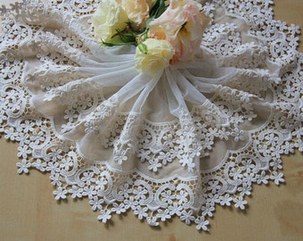 Off White Floral Lace Trim Embroidery Tulle  Lace Trim 7.87 Inch Wide 1 Yard L076