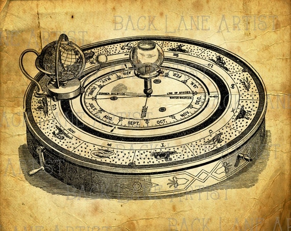 Vintage Astrolabe Astrology Star Sign Horoscope Clipart