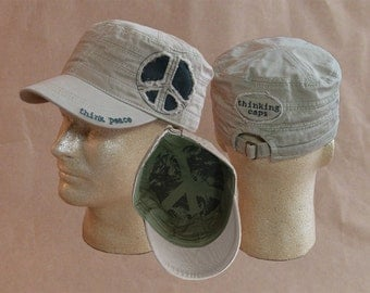 Think PEACE! 100% Organic Cotton Corps-Style Thinking Cap