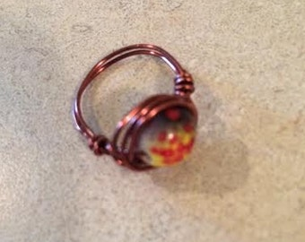 Copper Wire Beaded Ring size 7/8