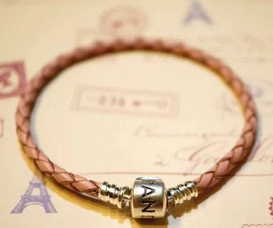 Pandora leather bracelet braided Pink silver clasp