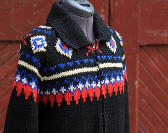 Vintage 50s Rare Black Knit Zip Up Cowichan / Curling Sweater / Mary Maxim Men's Size Medium