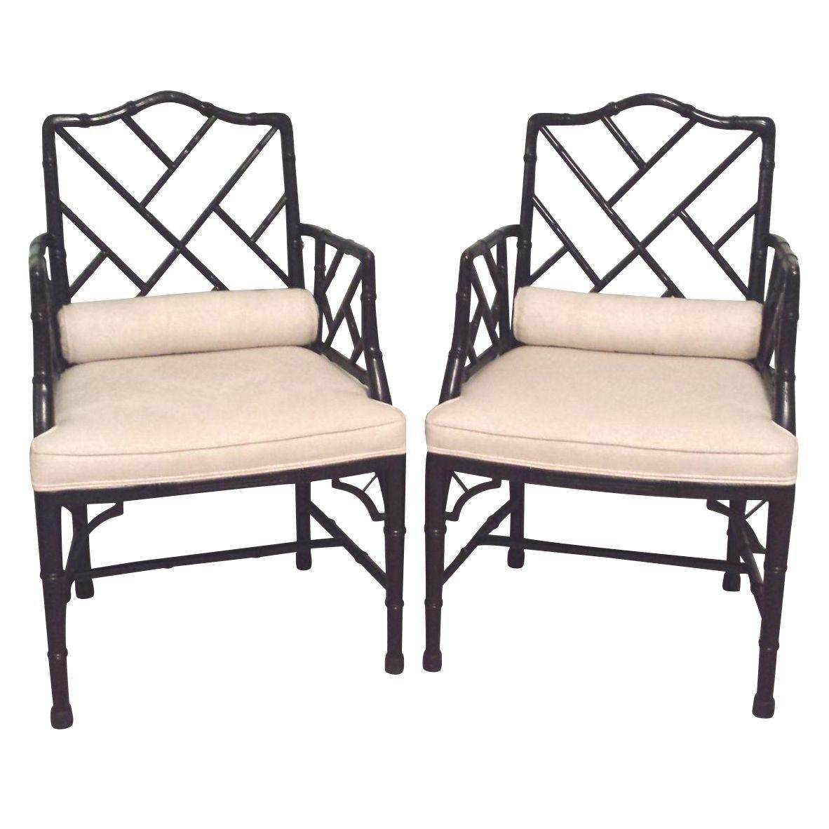 Etsy Vintage Bamboo Furniture: Baker Faux Bamboo Chinese Chippendale Hollywood Regency Chairs