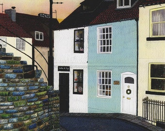 "Greetings card: ""Setts and steps, Whitby"" -  seaside town,fishermen's cottages,cobbled street,Goth,from an original painting by Liz Clarke"