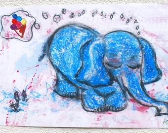 A3 poster children's dreamy elephant