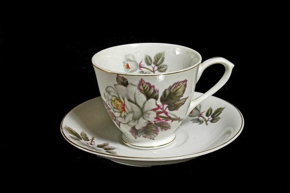 Teacup and Saucer  White Rose Pattern Bone China