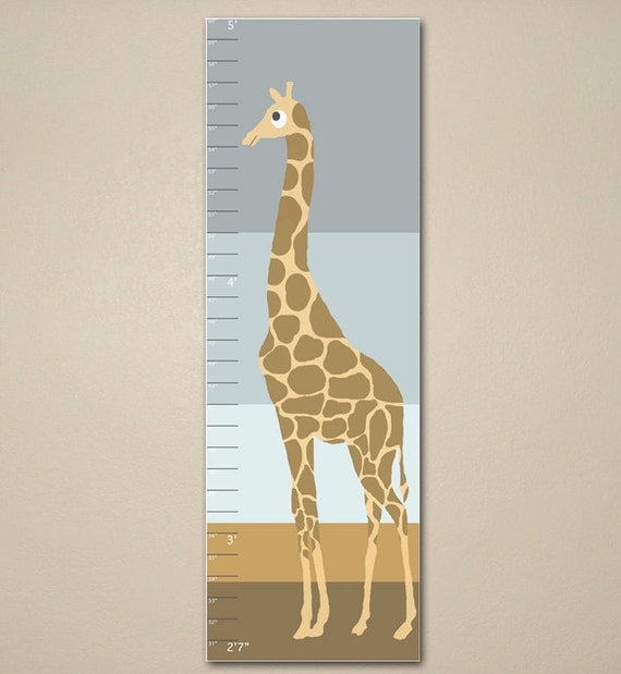 Giraffe growth chart children art 10 x 30 kids room for Growth chart for kids room