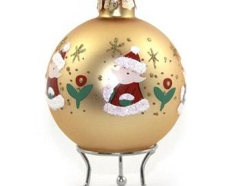 Gold Handpainted Glass Christmas Santa Bauble