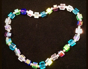 Crystal cube anklet