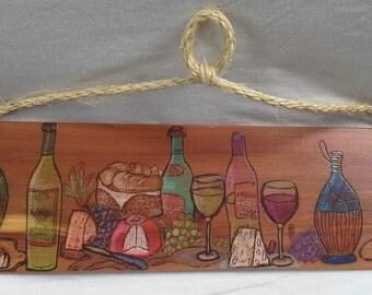 Wood burned Wine Decor, Wine Art, Wine Bar Decor, Rustic Wine Art, Gift for Wine Lover