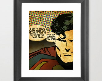 Super Hero poster, Movie Poster inspired by Comic Book Pop Art, Quote Print