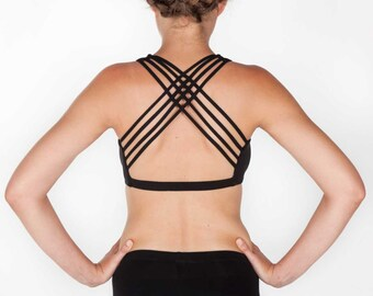 Star Bra Top - BLACK - Woven pattern bra top, great for yoga, dance, movement, supportive, interlaces strands back
