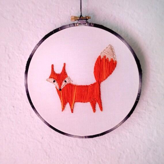 Little fox embroidery hoop by hoopandarrow on etsy