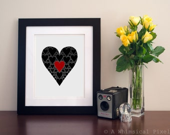 INSTANT DOWNLOAD Two Hearts In One Art Print 8x10 Love Wedding Marriage Home Decor