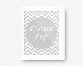 Dream big, gray, mint Nursery printable, gray printable, digital file, gray nursery, dream big, chevron, chevron, printable art